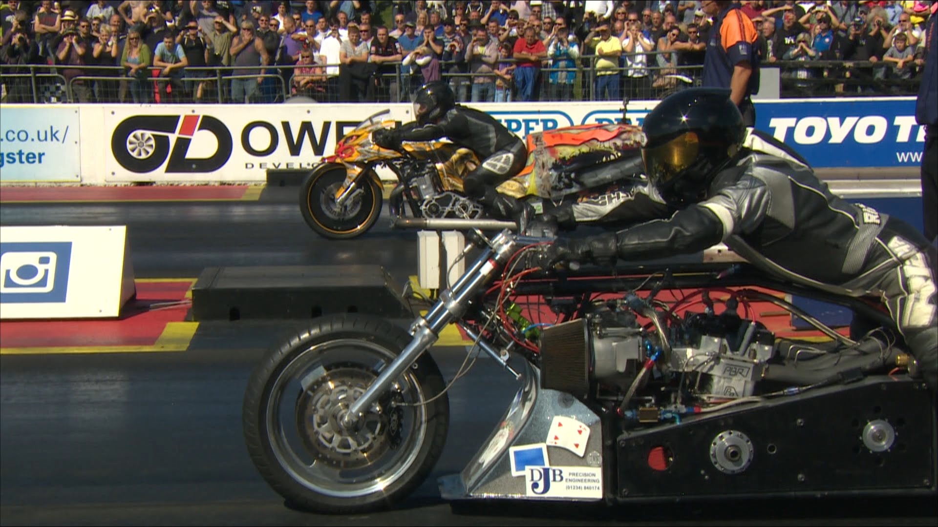 Top Fuel Drag Bike rider Filippos Papafilippou collides at almost 200mph with .